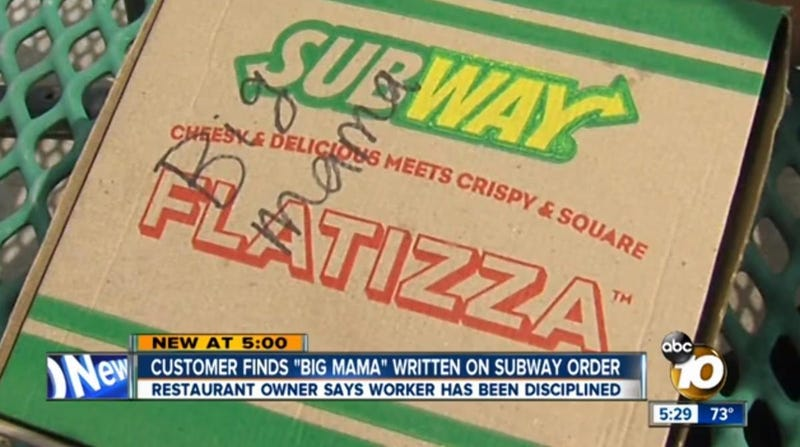 Illustration for article titled Woman Sues Subway After Worker Writes 'Big Mama' On Her Order
