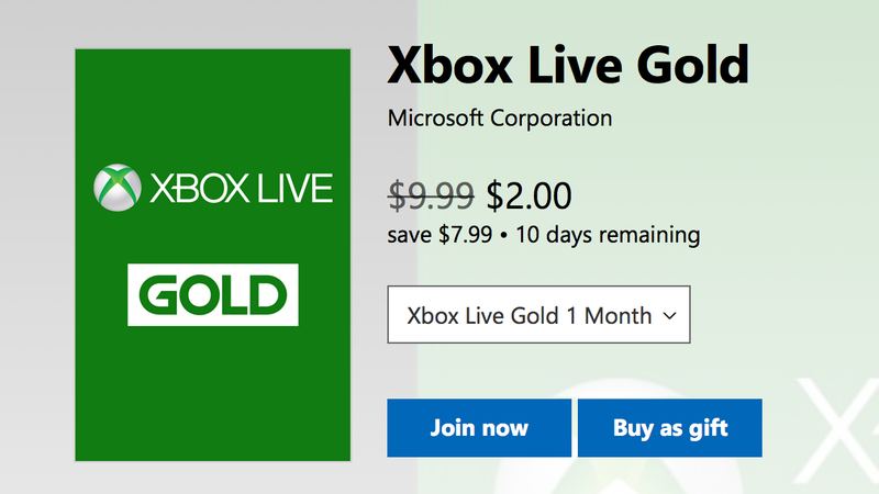 2 Months Xbox Live Gold | $2 | Microsoft | New members only