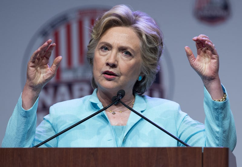 Democratic presidential nominee Hillary Clinton speaks during the National Association of Black Journalists and National Association of Hispanic Journalists joint convention in Washington, D.C., Aug. 5, 2016. Attendance of 3,890 is credited with helping NABJ to achieve a projected $1 million surplus. SAUL LOEB/AFP/Getty Images