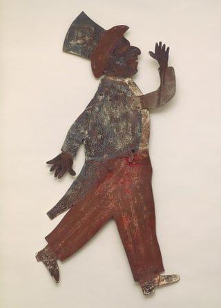 American. Black minstrel figure dressed as Uncle Sam, circa 1875. Sheet iron, pigment, 112.3 cm.Menil Collection, Houston