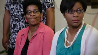 Sandra Bland's mother, Geneva Reed-Veal, and sister Sharon Cooper at a news conference for Bland at DuPage African Methodist Episcopal Church July 22, 2015, in Lisle, Ill. Joshua Lott/Getty Images