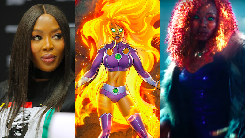 From left to right: Naomi Campbell at the Global Citizen Festival: Mandela 100 press conference, Starfire on the cover of Starfire #6, and Anna Diop in DC Universe's Titans.