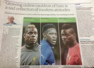 Illustration for article titled Paper Decries Racism In Soccer, Has Trouble Telling Black Players Apart