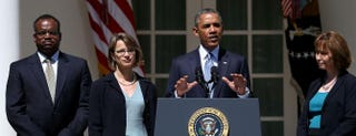 President Barack Obama nominating Cornelia T.L. Pillard (second from left), Patricia Ann Millett (right) and Robert L. Wilkins to become federal judges in June 2013Mark Wilson/Getty Images