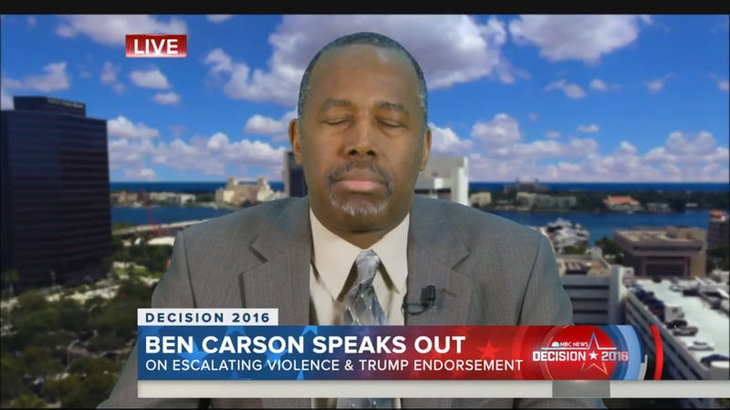 Illustration for article titled Carson: There Could Be More Violence At Trump Rallies If Protesters Keep 'Escalating'