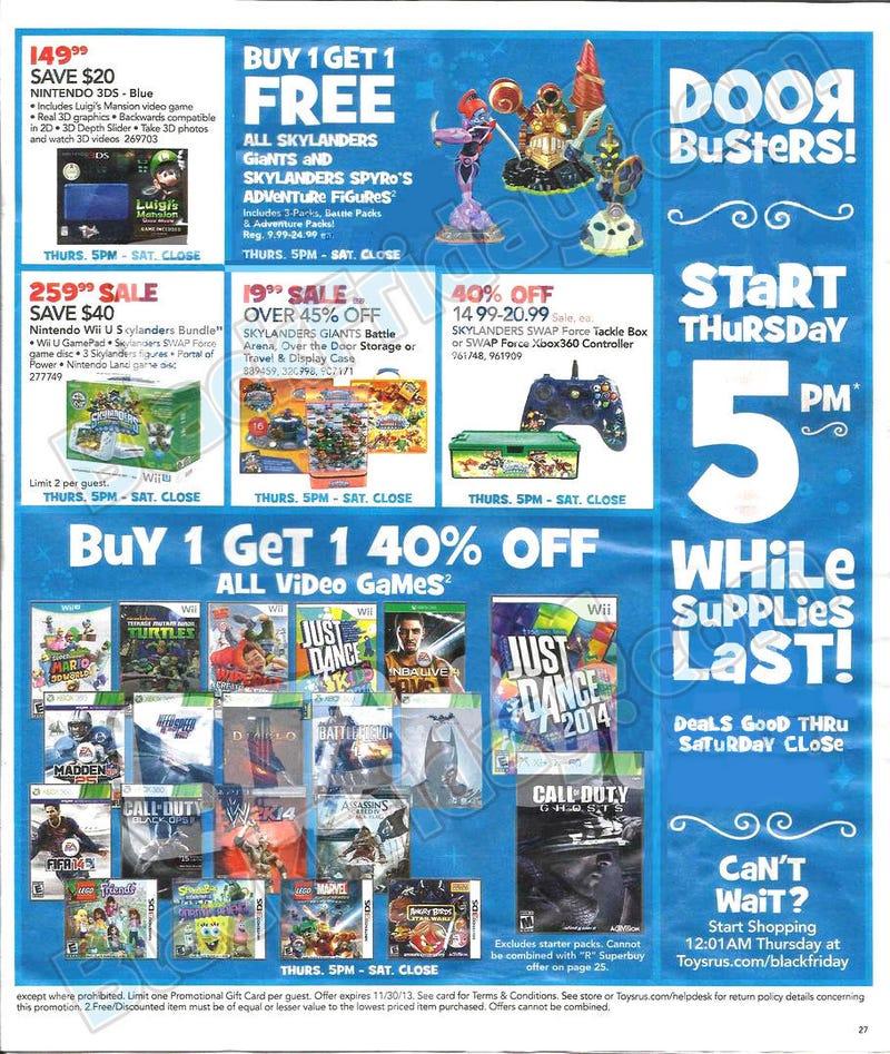 Illustration for article titled 2013 Toys R' Us Black Friday Ad Leak