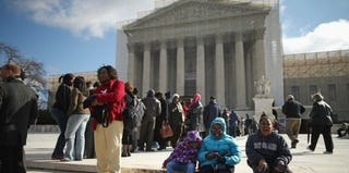 Voting Rights Act protesters on the steps of the Supreme Court (Getty Images)
