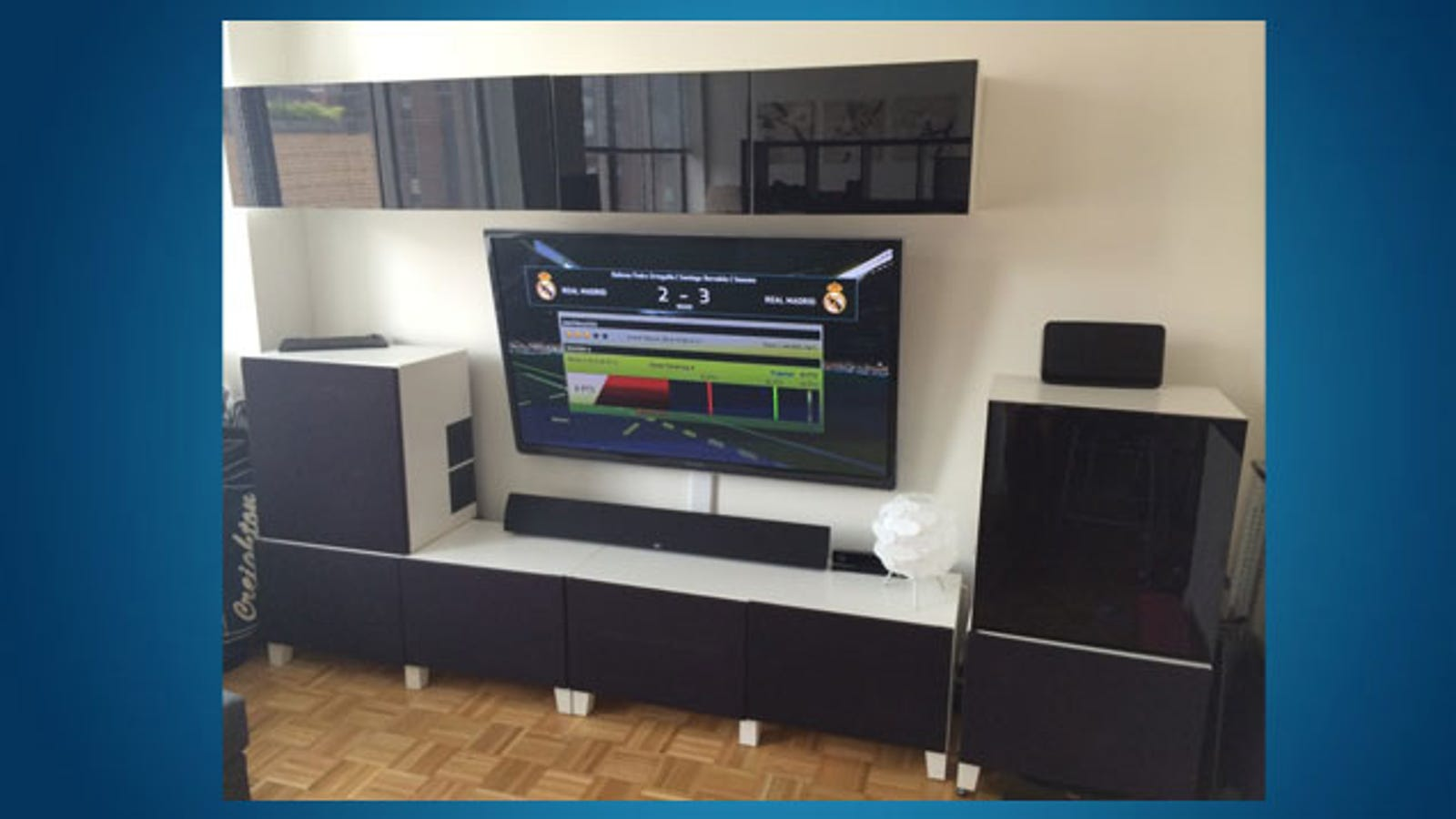 build a sleek entertainment center with ikea parts and. Black Bedroom Furniture Sets. Home Design Ideas
