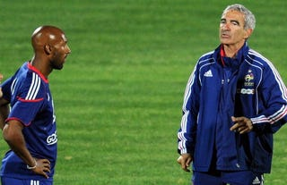 Anelka and France manager Domenech - AFP/Getty Images