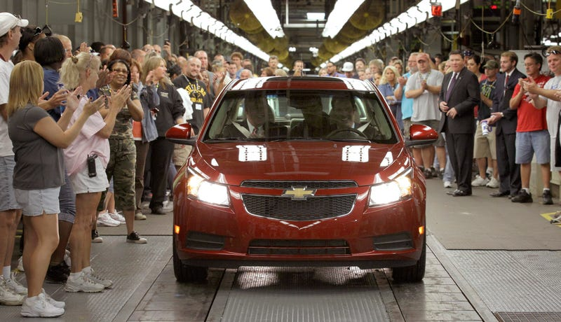 A 2010 file photo of the Lordstown plant making the first-generation Cruze.