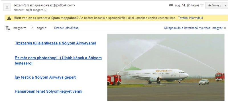 Illustration for article titled Spammel támad a Sólyom Airways