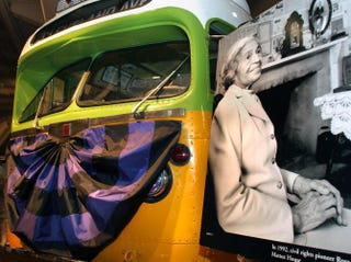 The bus made famous by civil rights pioneer Rosa Parks sits on display draped with mourning bunting Oct. 25, 2005, at the Henry Ford Museum in Dearborn, Mich.Bill Pugliano/Getty Images