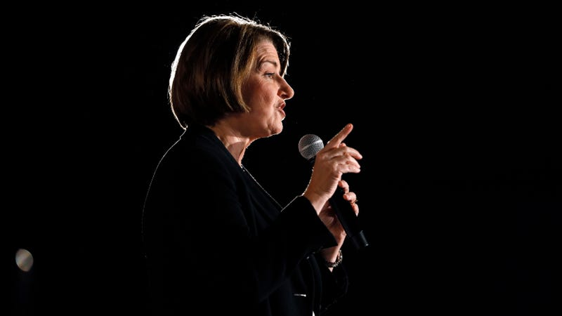 Senator Amy Klobuchar speaks during a forum for presidential candidates in Des Moines, Iowa on July 15.