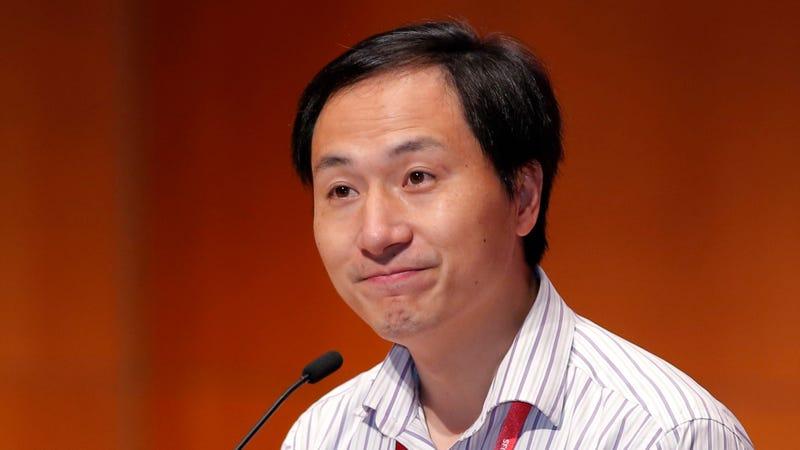 He Jiankui speaking in Hong Kong last week.