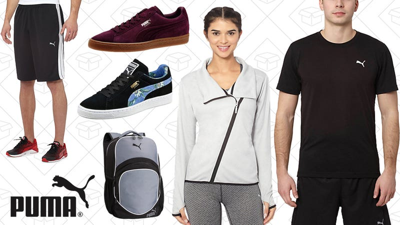 Formstrip Shorts, $14 | Suede Emboss Men's Sneaker, $42 | Suede Classic + Flourish Women's Sneaker, $39 | Soccer Ball Backpack, $26 |Warmcell Jacket, $31 | Essential Training Crew Top, $14