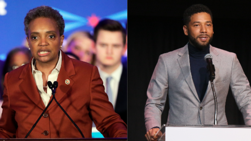 (L-R): Lori Lightfoot speaks at her election night party Tuesday, April 2, 2019, in Chicago. Jussie Smollett speaks at the Children's Defense Fund California's 28th Annual Beat The Odds Awards on December 6, 2018 in Los Angeles, California.