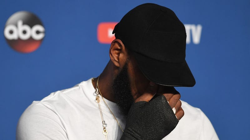 LeBron James speaks to the press after the conclusion of the 2018 NBA  Finals. Photo  Jason Miller (Getty Images) eb5529af7a0