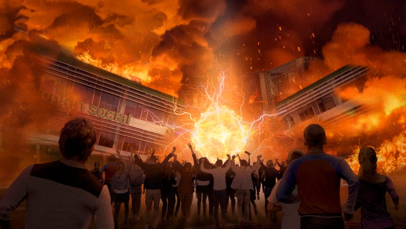 Illustration for article titled 25 Million Onion Social Users Run Into Glorious Flames Of Headquarters In Hopes Of Using Website One Last Time
