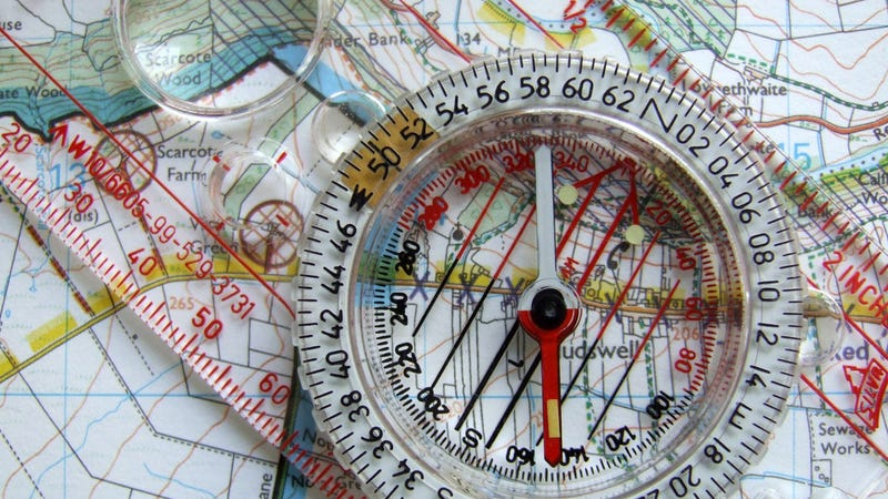 How To Use A Map And Compass - Us map with compass points
