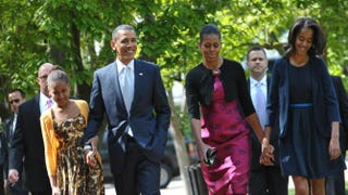 President Barack Obama and first lady Michelle Obama with their daughters Sasha (L) and Malia (R) walk across Lafeyette Square from the White House for Easter Service at St John's Episcopal Church April 8, 2012 in Washington, D.C.MANDEL NGAN/AFP/Getty Images