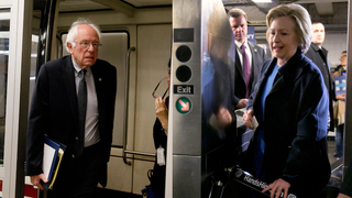 Bernie rides the Capitol Subway System in 2015, AP Photo/Carolyn Kaster; Hillary rides NYC's subway today, AP Photo/Richard Drew