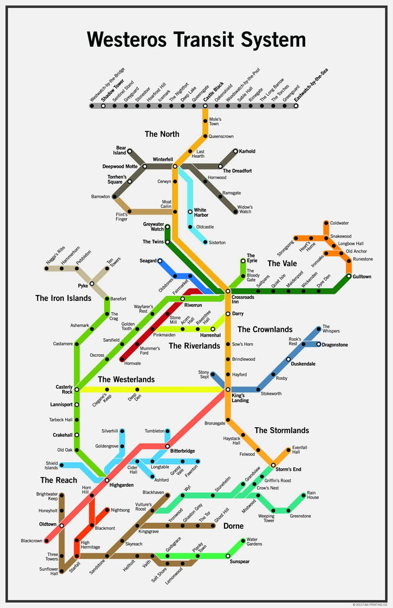 the seven kingdoms have a surprisingly solid mass transit system - you'd think with all the war assassinations turmoil politicalbackstabbing invasions from beyond the wall and everything else that the sevenkingdoms