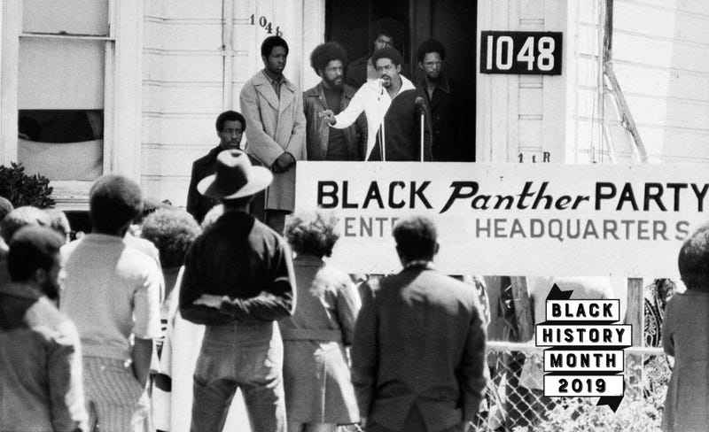 Bobby Seale, chairman of the Black Panther Party, addresses a rally outside the party headquarters Aug. 13, 1971, in Oakland, Calif.