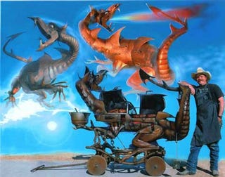 Illustration for article titled Giant Steel Dragon BBQs are Huge, Expensive