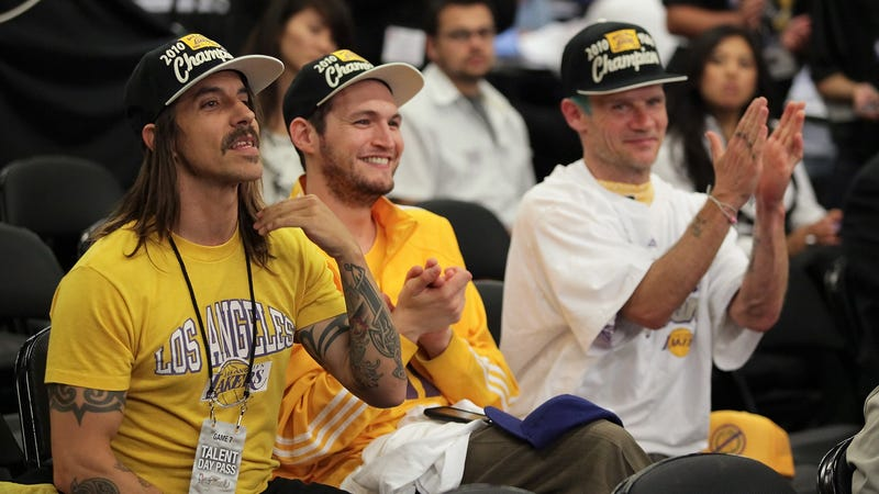 Anthony Kiedis and Flea of Red Hot Chili Peppers at a 2010 Lakers game.