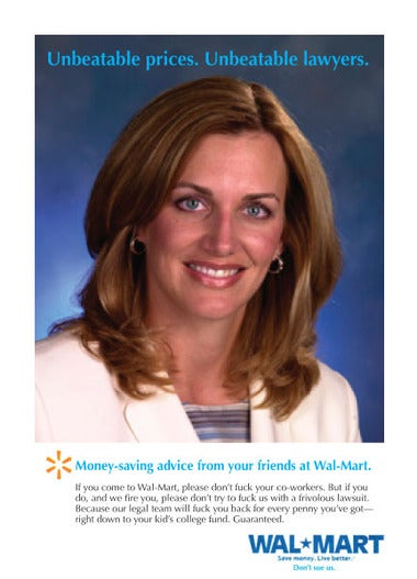 Illustration for article titled Wal-Tart Julie Roehm's Sad, Slutty Fight With Wal-Mart Is Over