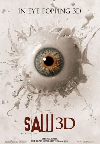 Illustration for article titled Saw 3D's Eyeball Poster Looks Disturbingly Familiar