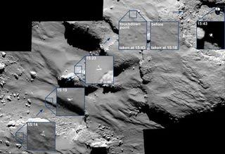 Illustration for article titled Rosetta capta en imágenes los tres aterrizajes de Philae en el cometa