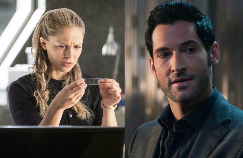 Melissa Benoist stars in Supergirl; Tom Ellis arches his eyebrows in Lucifer (Photos: Michael Courtney/The CW Network; Fox Networks)