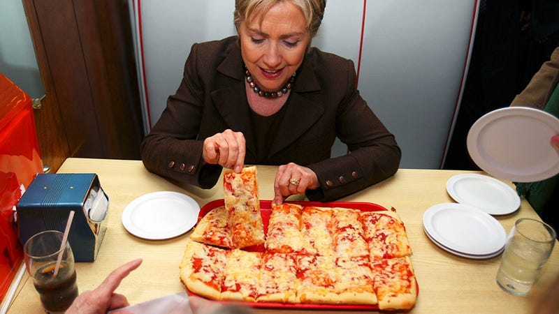 Image: AP Photo/Carolyn Kaster |  HRC eating pizza in 2008. Clear and incontrovertible proof.