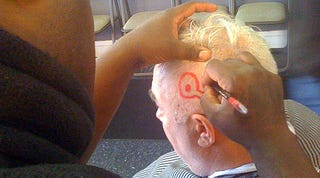 """Illustration for article titled Scott Raab Shaved """"QUITNESS"""" Into His Head For LeBron's Return"""
