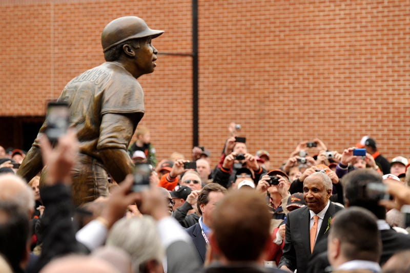 Frank Robinson, larger than life. And also a bronze statue of Frank Robinson.