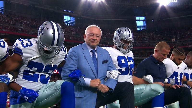 Illustration for article titled Cowboys Try To Please Everyone By Kneeling Before Anthem, Accomplish Nothing
