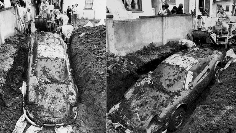 The True Story Of How A Ferrari Ended Up Buried In Someone's Yard