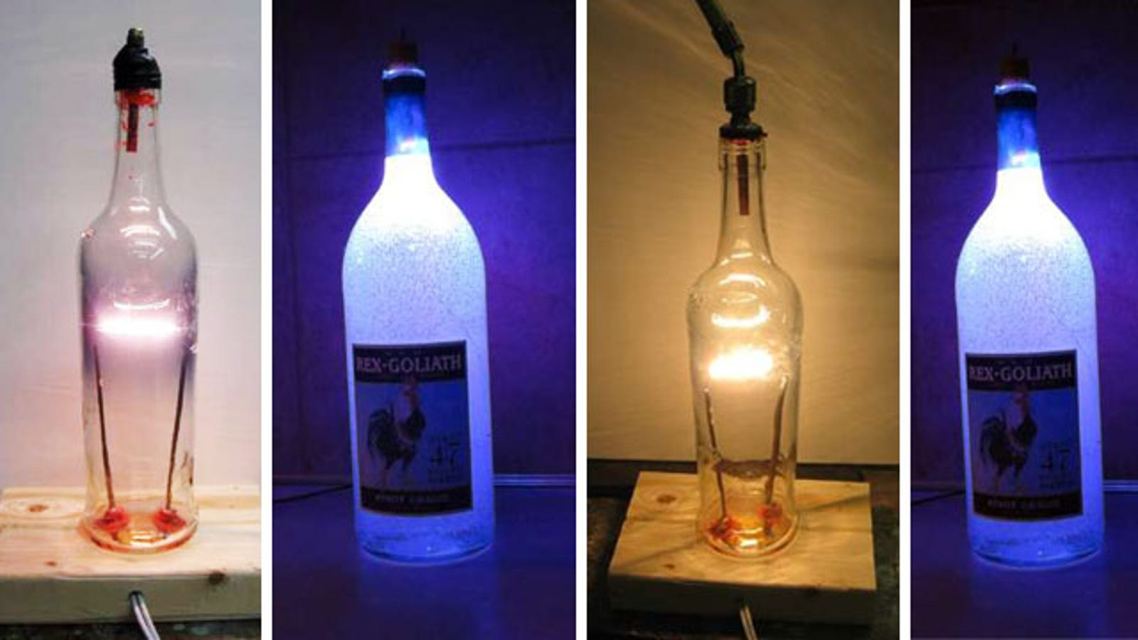 Diy glass bottle lamp for Small led lights for crafts michaels