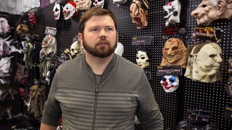 All-Business Adult In Halloween Shop Beelines It Straight For ...