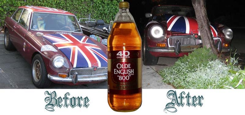 Illustration for article titled Olde English 800-Fueled Driver Obliterates Union Jack-Adorned MGB-GT, We Struggle To Find Meaning
