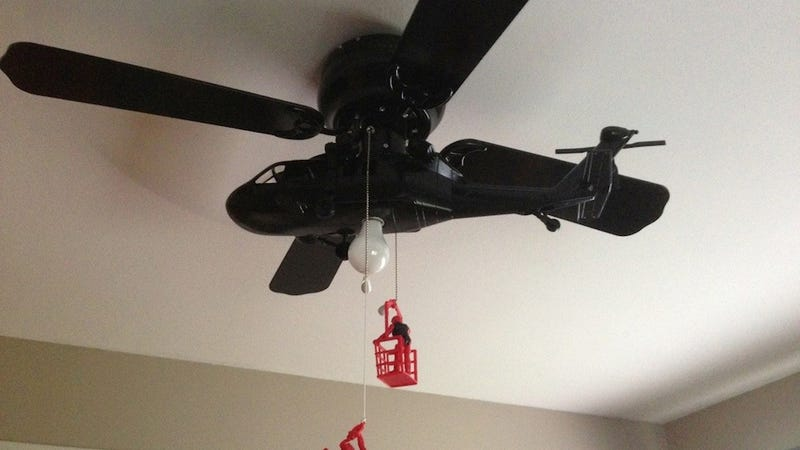 Every ceiling fan should be a helicopter ceiling fan if you love yourself your kid your house your life you should have a helicopter ceiling fan in your house weve seen aviation inspired ceiling fans aloadofball Images