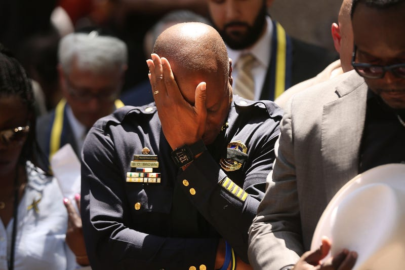 Dallas Police Chief David Brown pauses during a prayer vigil July 8, 2016, following the deaths the night before of five police officers on the heels of what had been a peaceful Black Lives Matter march in Dallas.Spencer Platt/Getty Images