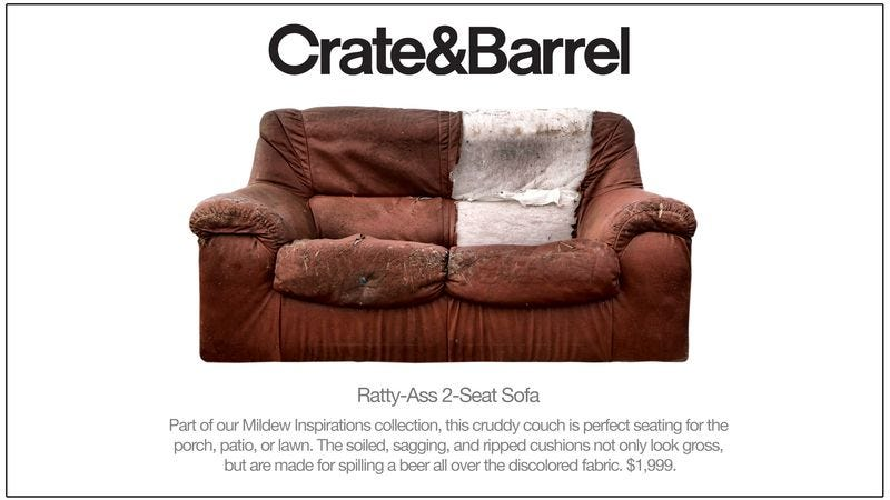 Crate Barrel Introduces Line Of Disgusting Couches You Can Put On Your Porch