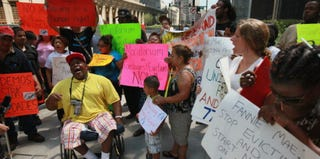 Demonstrators outside Fannie Mae offices in Chicago, July 2012 (Scott Olson/Getty Images)