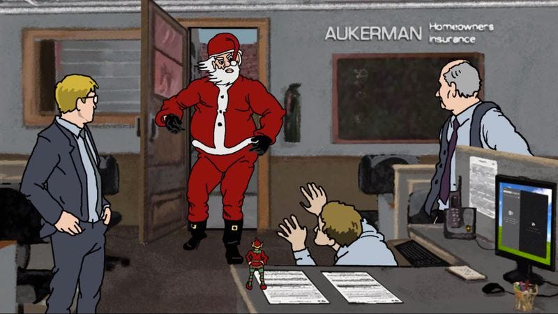 Illustration for article titled Santa puts the hurt on Scott Aukerman in fan-made Comedy Bang! Bang! animation