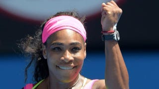 Serena Williams celebrates after a victory in her women's singles match against Slovakia's Dominika Cibulkova on day 10 of the 2015 Australian Open tennis tournament in Melbourne Jan. 28, 2015.Greg Wood/AFP/Getty Images