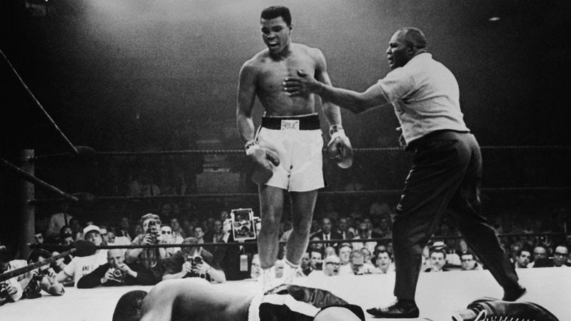 Muhammad Ali defeats Sonny Liston in their 1965 rematch. (Photo: Getty Images)