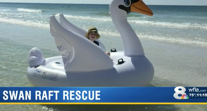 Illustration for article titled Mother and Son Rescued After Floating Miles From Shore on Inflatable Swan