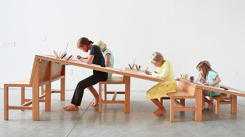 Designed To Accomodate Kids Of Any Age And Height, This Grow Table Drawing  Desk Features A Sloped Work Surface So At One End Itu0027s Low Enough For  Little ...